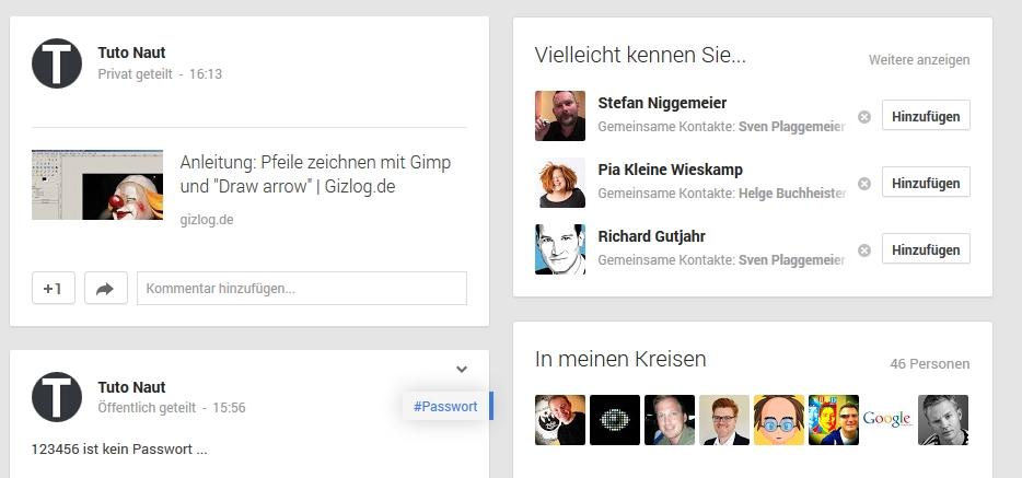 Google+-Sichtbarkeit