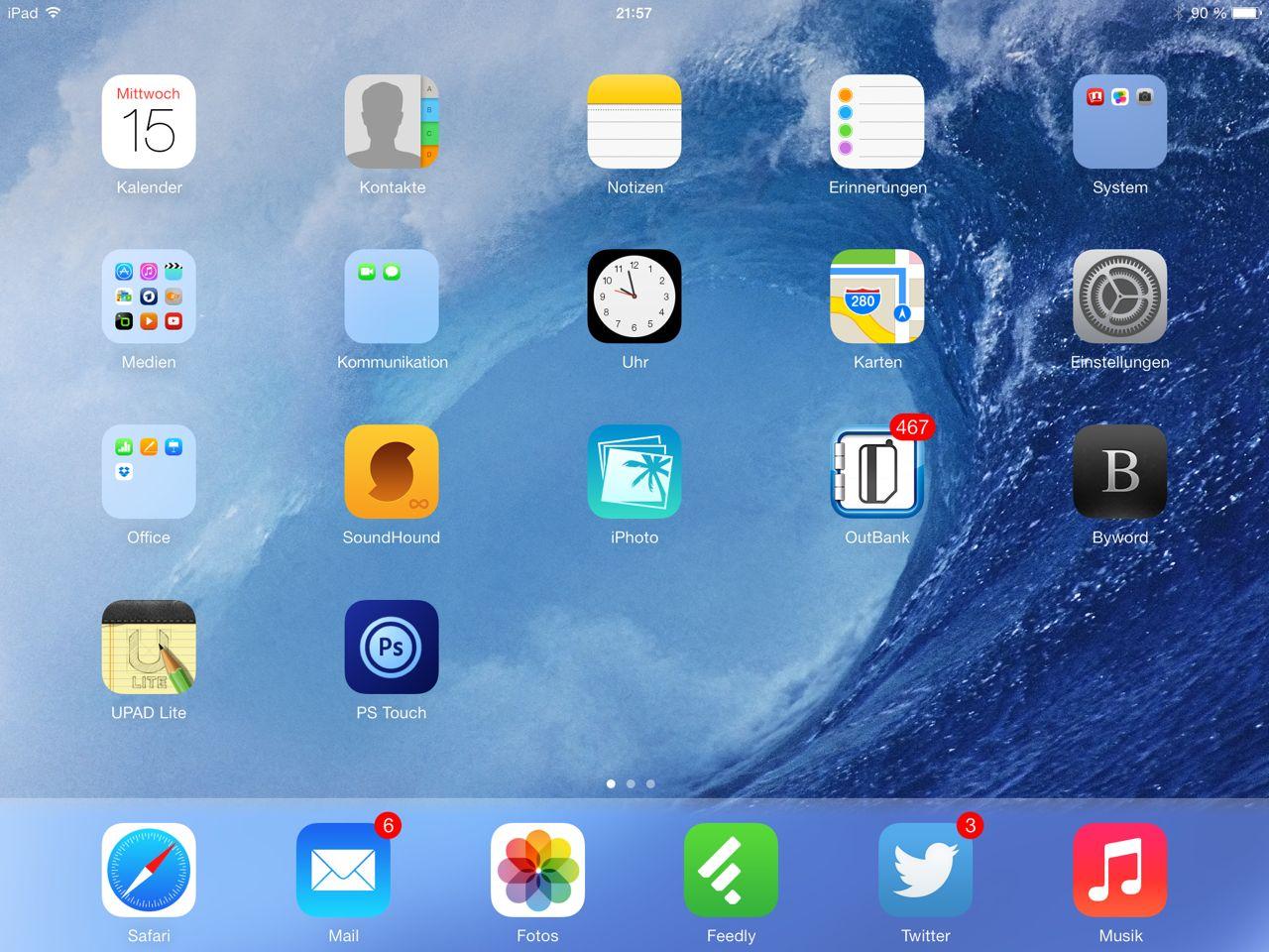 iOS 7 Home-Bildschirm