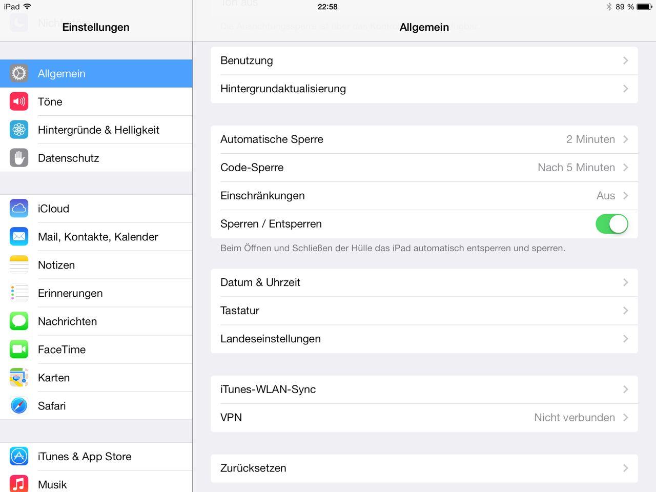 iOS 7 Einstellungsmenü