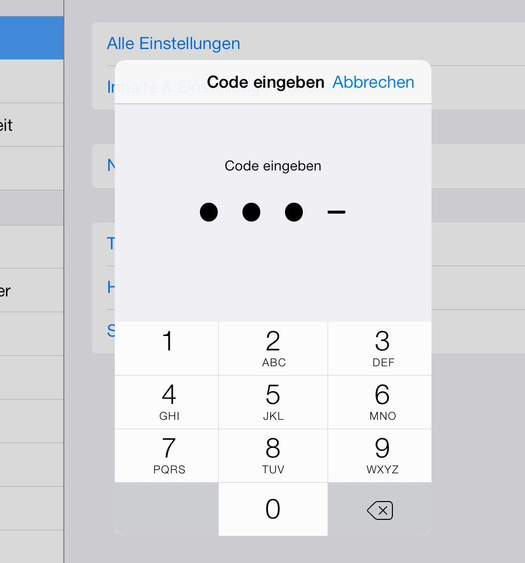 iOS 7 Einstellungsmenü Passwortabfrage