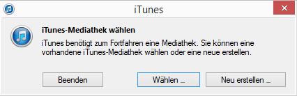 iTunes ermöglicht die Auswahl der Mediathek.