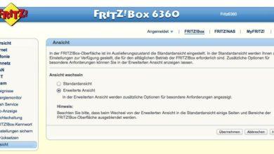 Bild von Erweiterte Ansicht auf der FritzBox aktivieren