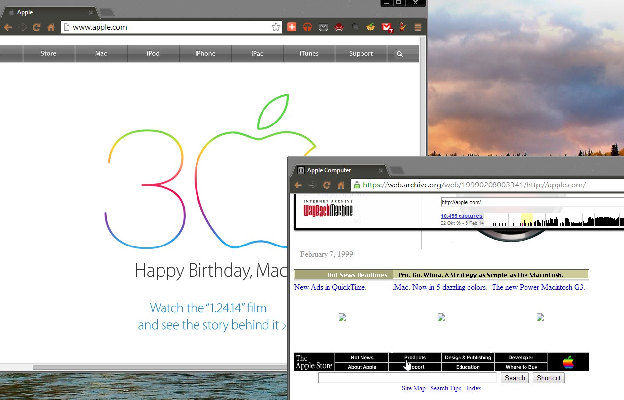 Die Apple-Homepage - vorne 1999, hinten 2014