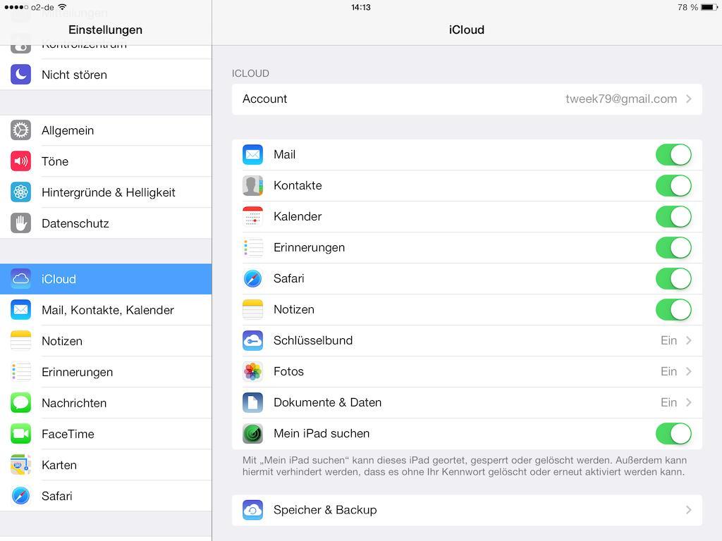 iCloud-Dienste deaktivieren