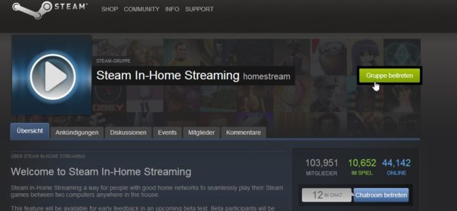 Steam Streaming Beta