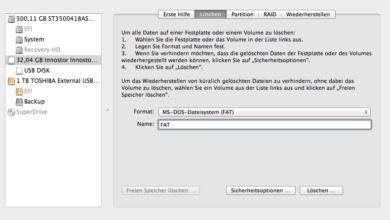 Bild von USB-Datenträger unter Mac OS X mit dem FAT-Dateisystem formatieren