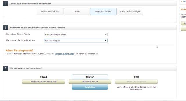 Praktisch: Auf Wunsch ruft Euch die Amazon-Hotline kostenlos zurück. Der Support funktioniert dabei meist erfreulich gut