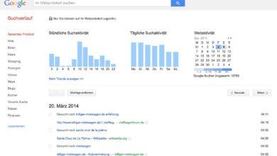Bild von Google-Suchprotokoll aufrufen und löschen