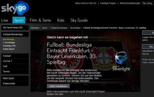 Kein Silverlight, kein Fußball: Wie viele andere Streaming-Anbieter setzt die Sky die Installation von nervigen Plug-ins voraus