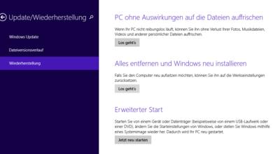 Photo of Windows 8 auf Werkseinstellungen zurücksetzen