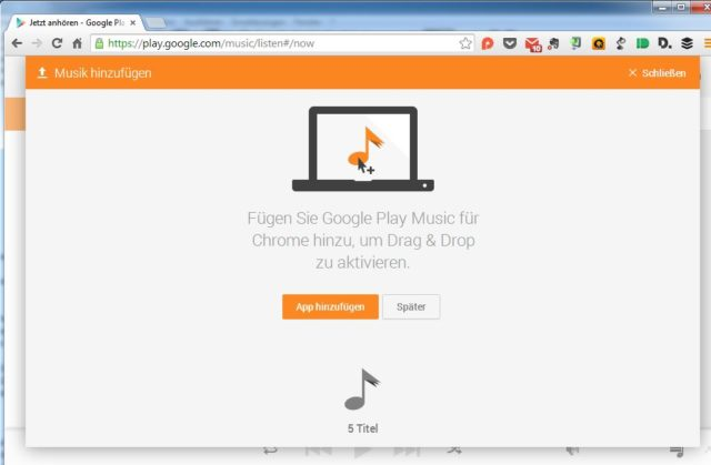 Songs Per Drag & Drop Zu Google Play Music Hochladen