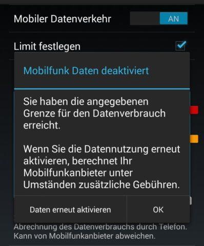 Besonders beim Roaming im Urlaub kann es nützlich sein, ein Limit festzulegen, bei dem die mobile Datenverbindung gekappt wird