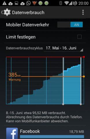 Die Android-Einstellungen verraten Euch, wieviel Ihr in diesem Monat schon mobil gesurft habt