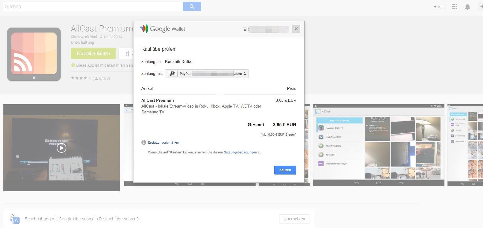 Auch im Web-Frontend des Play Stores könnt Ihr Apps und mehr via PayPal bezahlen