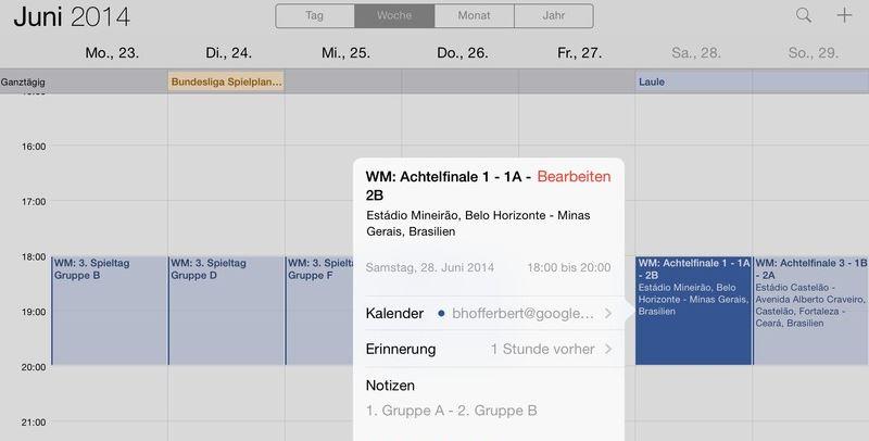 Kalender Einstieg