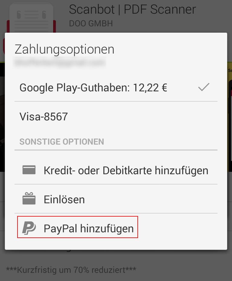 Android-Apps und mehr mit PayPal zu bezahlen wurde komfortabel in den Play Store integriert