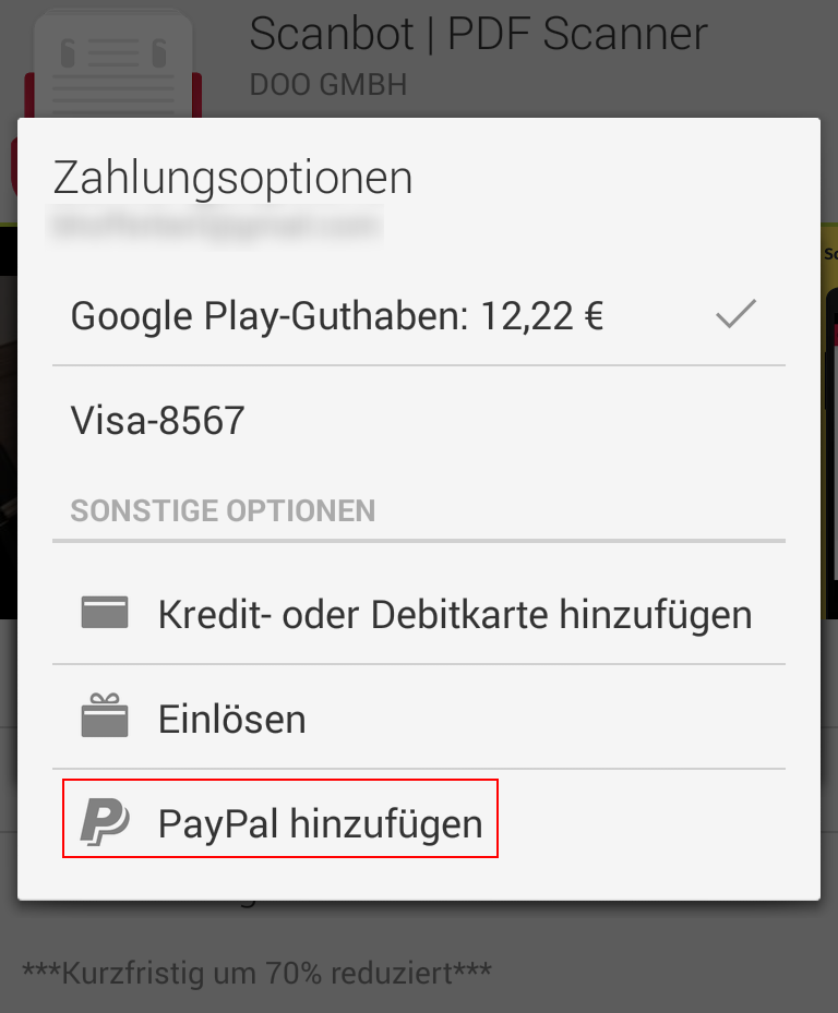 Google Zahlungsmethoden