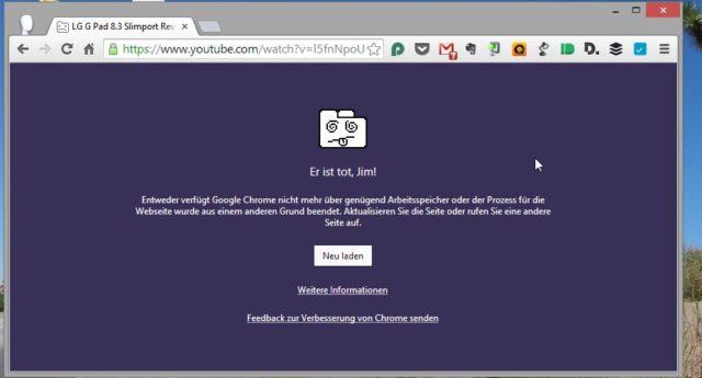 Wenn Google Chrome eine Website oder ein Plug-in abschießen muss, könnt Ihr in den anderen Fenstern immer noch weitersurfen