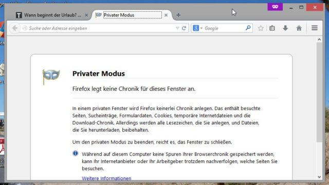 Seit einiger Zeit müsst Ihr für den Privatmodus von Firefox nicht mehr den kompletten Browser neu starten