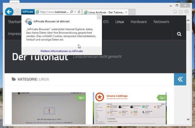 """Auch Nutzer des Internet Explorer müssen dank """"InPrivate"""" nicht mehr auf die Möglichkeit des Surfen in Privatsphäre verzichten"""
