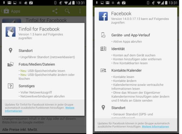 Die Berechtigungen von Tinfoil (links) und Facebook im Vergleich - im rechten Fenster dürft Ihr übrigens noch ein ganzes Stück nach unten scrollen...
