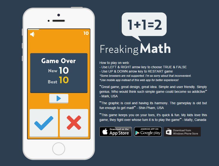 Wer gerade kein Smartphone oder Tablet zur Hand hat, kann Freaking Math auch direkt im Browser spielen