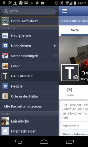 Die Sidebar bietet Zugriff auf die Standardfunktionen von Facebook