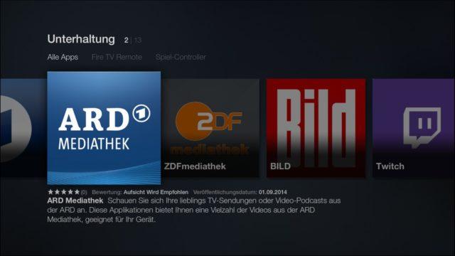 Das App-Angebot auf dem Amazon Fire TV ist derzeit noch übersichtlich
