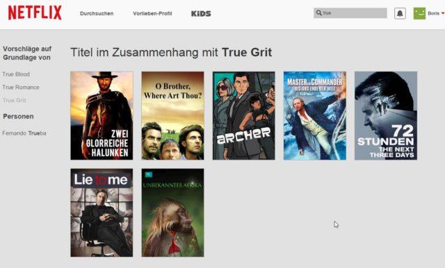 Netflix macht Vorschläge für Alternativen, wenn ein Film oder eine Serie im Angebot fehlt