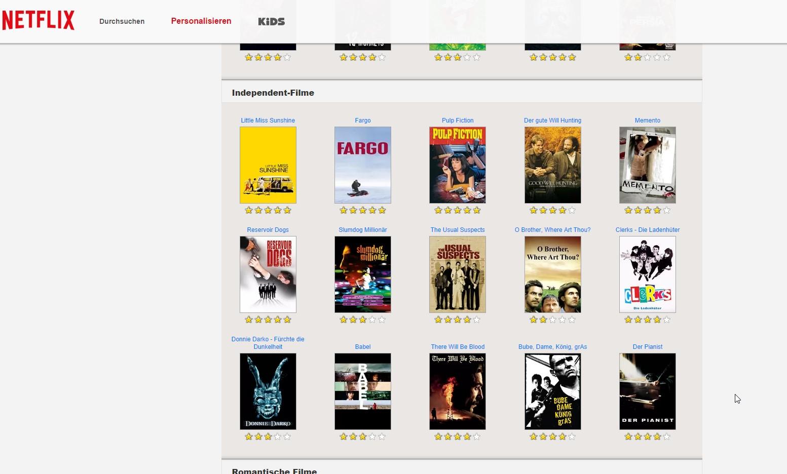 Auf Wunsch könnt Ihr mit Film- und Serienbewertungen das Angebot personalisieren