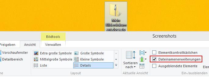 Explorer Dateinamenerweiterung anzeigen