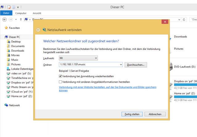 Windows Netzlaufwerk verbinden