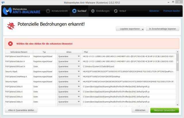 Malwarebytes Schadsoftware erkannt