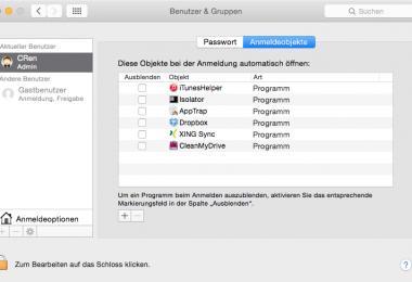 In den Systemeinstellungen von Mac OS X lassen sich Autostarts einrichten.