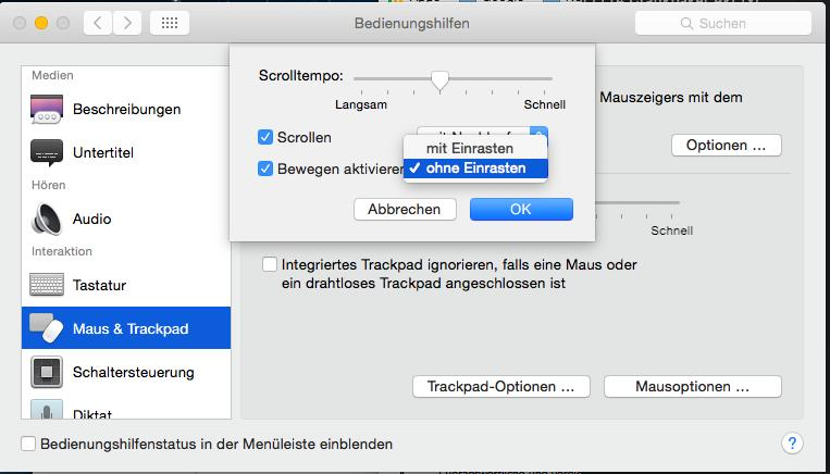Mac OS X Bedienhilfen Trackpad