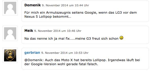 Die ersten Kommentare bei Caschy zur Meldung, dass das LG G3 bald ein Android 5-Update erhält...