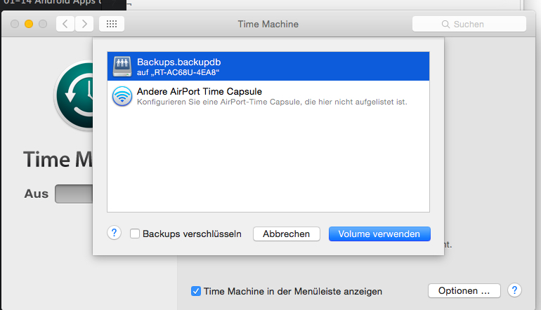 Time Machine Netzwerk