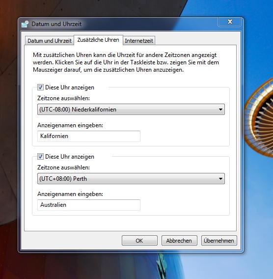Windows Uhrzeit einstellungen