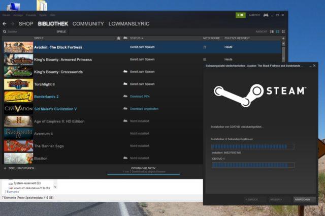 ws Steam Backup 7 wiederherstellen