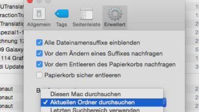 Bild von Dateisuche im Finder von MacOS immer im aktuellen Ordner starten