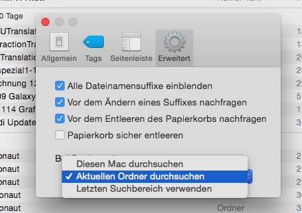 Mac OS X Sucheinstellungen