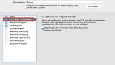 Bild von Mac DVD/CD-Laufwerk im Netzwerk freigeben