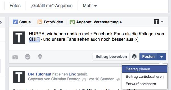 Facebook Beitrag planen