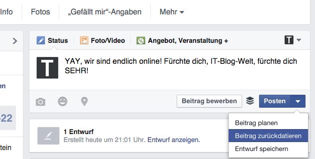 Facebook zurückdatieren