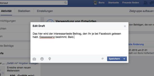 Facebook Entwurf speichern