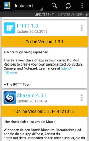 Changelog Droid informiert Euch auch über App-Updates, die Ihr noch nicht installiert habt