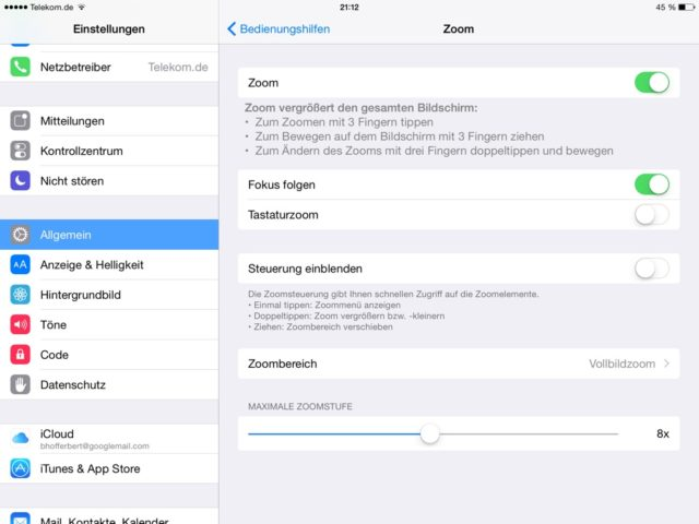 iOS Zoomeinstellungen