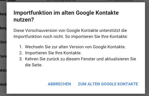 Google Kontakte alte Version umschalten