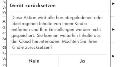 Bild von Anleitung: Amazon Kindle auf Werkseinstellungen zurücksetzen