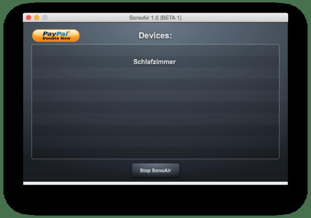 Nach einigen Sekunden zeigt Euch SonosAir alle Sonos-Player in Eurem Netzwerk an und macht sie zu AirPlay-Empfängern